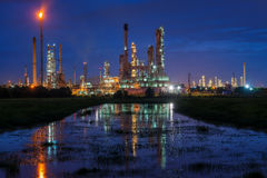 Oil refinery or petroleum refinery industry landscape with refle Royalty Free Stock Photography