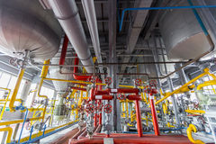 Oil refinery. Pipelines of an oil refinery from the inside Royalty Free Stock Photo