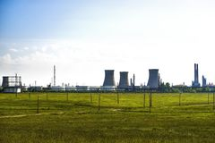 Oil refinery plant against Stock Image