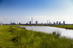 Oil refinery plant against Stock Photo