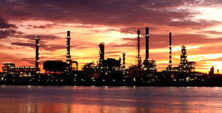 Oil Refinery plant area morning Stock Photos