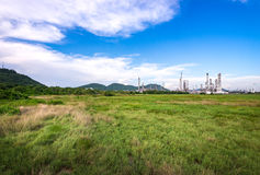 Oil refinery plant with blue sky royalty free stock photos