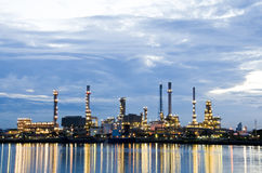 Oil refinery plant in the dawn. Royalty Free Stock Photo