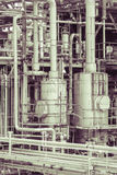 Oil refinery plant detail  in vintage tone edit Stock Images