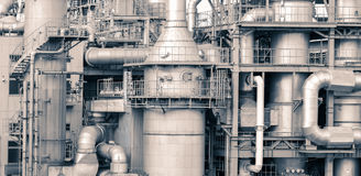 Oil refinery plant detail  in vintage tone edit. Close - up Oil refinery plant detail  in vintage tone edit Royalty Free Stock Photo