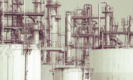 Oil refinery plant detail  in vintage tone edit Royalty Free Stock Photos