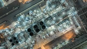 Oil refinery plant form industry zone, Aerial view oil and gas industrial, Refinery factory oil storage tank and pipeline steel at. Night royalty free stock photography