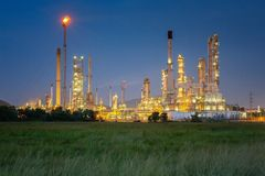 Oil refinery plant and gas industrial factory. This immage can use for chemistry, technologe and petrochemical concept royalty free stock image