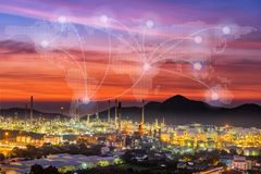 Oil refinery plant with global map connection network.  royalty free stock photos