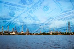 Oil refinery plant, money background Royalty Free Stock Photography