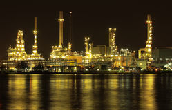 Oil refinery plant night scene in Thailand Royalty Free Stock Photos