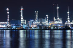 Oil refinery plant night scene in Thailand Stock Images