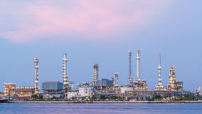 Oil refinery plant of Petrochemistry industry in twilight time, Royalty Free Stock Image