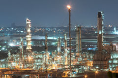 Oil refinery plant of petroleum or petrochemical industry. Production at sunset stock photo