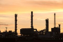 Oil and gas refinery industry Factory at sunset Royalty Free Stock Image