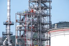 Oil refinery plant pipeline close up stock images