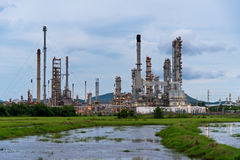 Oil refinery plant at sunrise Stock Image