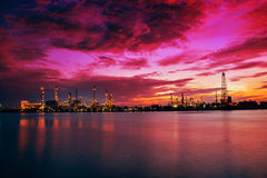 Oil Refinery Plant at sunrise, Thailand Royalty Free Stock Images