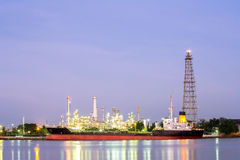 Oil refinery plant with tanker night Stock Images