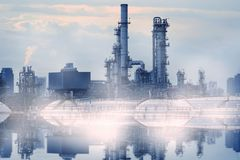 Oil refinery pollution. Oil refinery manufacturing pollution concept Royalty Free Stock Images