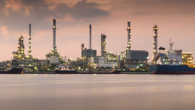 Oil refinery power plant river front Stock Photo
