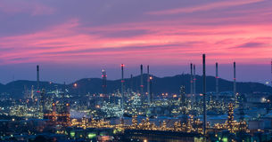 Oil refinery power station at twilight Royalty Free Stock Photos