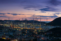 Oil refinery power station at twilight. Of Lamchabang, Thailand Stock Photos