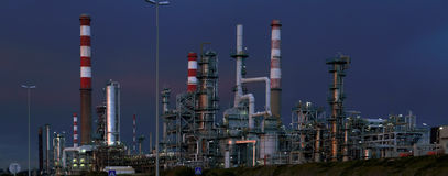Oil refinery and powerplant panorama at dusk Stock Photography