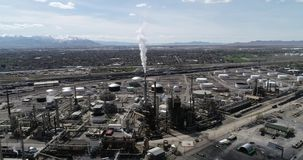 Oil refinery processing fuel just north of Salt Lake City stock footage