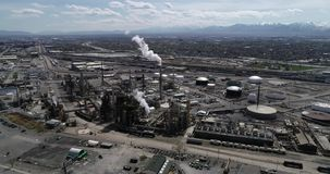 Oil refinery processing fuel just north of Salt Lake City stock video footage