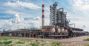 Oil refinery, processing plant pipelines Stock Image
