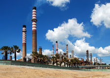 Oil refinery, Puente Mayorga, Spain. View of the industrial petro-chemical refinery, Puente Mayorga, Cadiz Province, Costa del Sol, Andalusia, Spain, Western Royalty Free Stock Photos