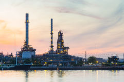 Oil refinery riverfront Royalty Free Stock Photo