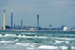 Oil refinery at sea Stock Image