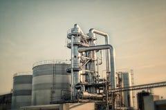 Oil refinery shiny tubes Royalty Free Stock Photo