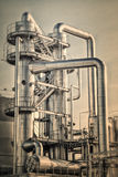 Oil refinery shiny tubes Royalty Free Stock Image