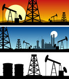 Oil Refinery Silhouette Banners. Three different oil refinery silhouette banners at dawn, at night and on white background. Eps file available royalty free illustration