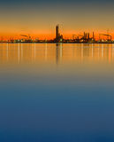 Oil Refinery Silhouette Stock Images