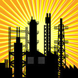 Oil refinery silhouette at sunset Royalty Free Stock Images