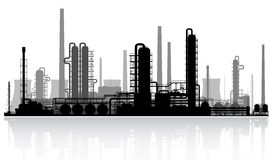 Oil refinery silhouette. Vector illustration. Royalty Free Stock Photos