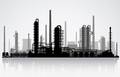 Oil refinery silhouette. Vector illustration. Oil refinery or chemical plant silhouette. Vector illustration stock illustration