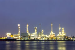 Oil refinery site with twilight Stock Image
