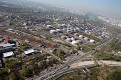 Oil refinery from the sky. Aerial view of an oil refinery in Moscow Stock Photos
