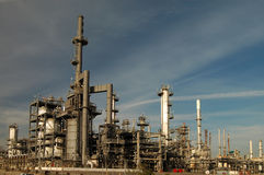 Oil Refinery Skyline. Pipes and smokestacks of an oil refinery Stock Images