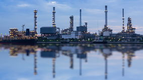 Oil Refinery Station Day To Night Time Lapse