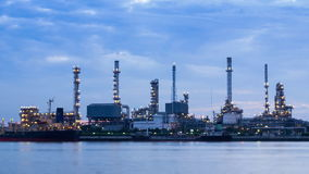 Oil Refinery Station Night To Day Time Lapse stock video footage