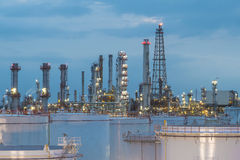Oil refinery and storage tanks at twilight Royalty Free Stock Image