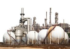 Oil refinery. Structure of the oil refinery building isolated on white background Royalty Free Stock Photo