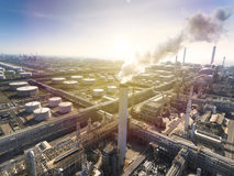 Oil refinery with sunlight background Stock Images