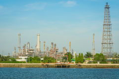 Oil refinery on sunny day. Stock Photo